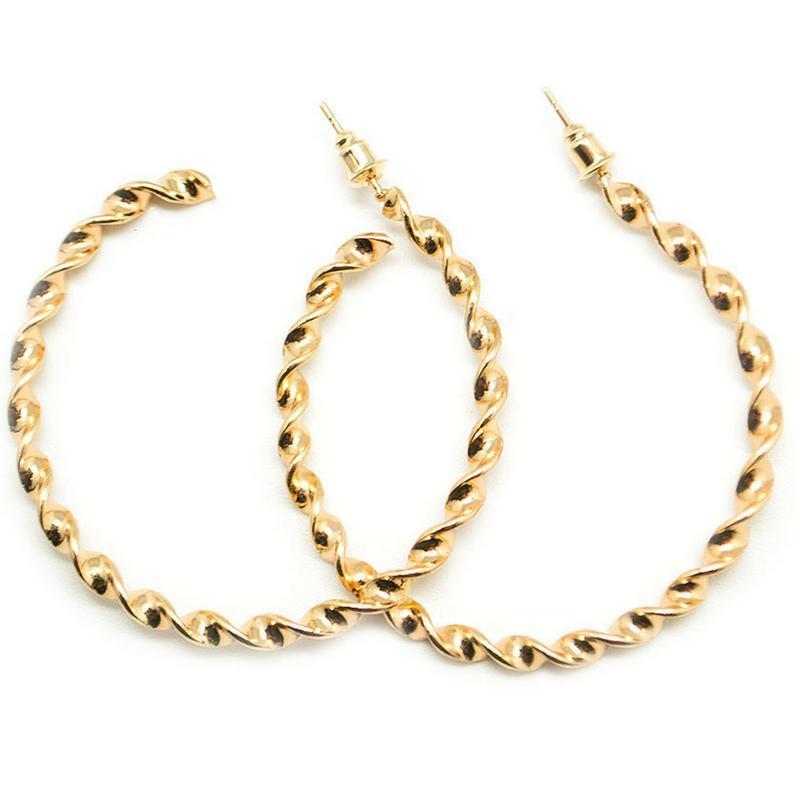 Wicked Wonders VIP Bling Earrings A Whirl and a Twirl Gold Hoop Earring Affordable Bling_Bling Fashion Paparazzi