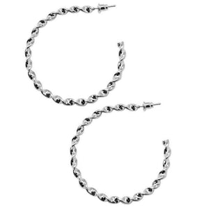 Wicked Wonders VIP Bling Earrings A Whirl and a Twirl Silver Hoop Earrings Affordable Bling_Bling Fashion Paparazzi