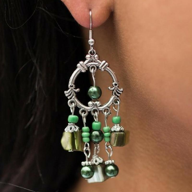 Wicked Wonders VIP Bling Earrings Across the Seven Seas Green Earrings Affordable Bling_Bling Fashion Paparazzi