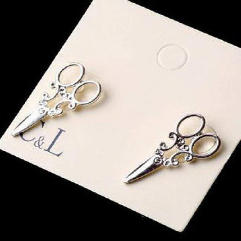 Wicked Wonders VIP Bling Earrings All Scissors Smile Silver Post Earrings Affordable Bling_Bling Fashion Paparazzi
