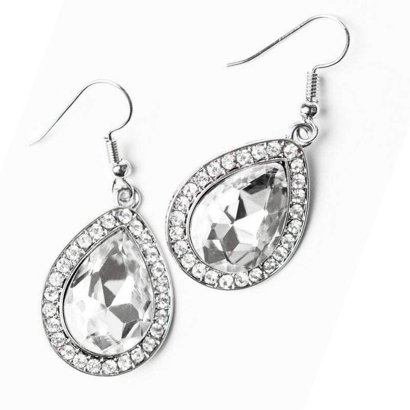 Wicked Wonders VIP Bling Earrings Are You Sure That's REGAL? White Gem Earrings Affordable Bling_Bling Fashion Paparazzi