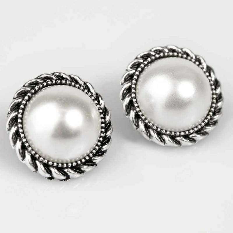 Wicked Wonders VIP Bling Earrings Atlantic City White Pearl Post Earrings Affordable Bling_Bling Fashion Paparazzi