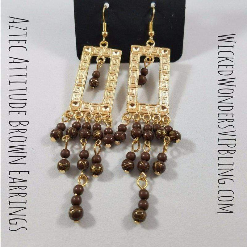 Wicked Wonders VIP Bling Earrings Aztec Attitude Brown Earrings Affordable Bling_Bling Fashion Paparazzi