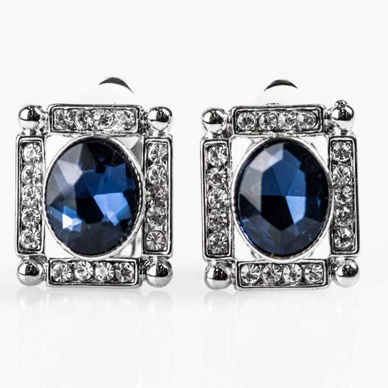 Wicked Wonders VIP Bling Earrings Backstage Broadway Blue Gem CLIP ON Earrings Affordable Bling_Bling Fashion Paparazzi