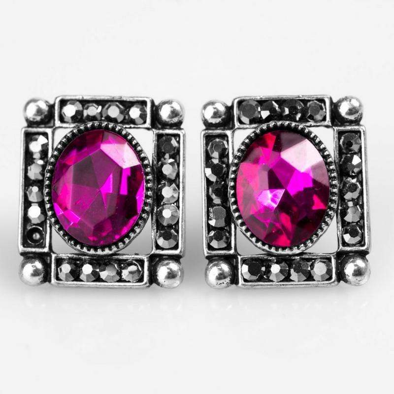 Wicked Wonders VIP Bling Earrings Backstage Broadway Pink Gem Post Earrings Affordable Bling_Bling Fashion Paparazzi
