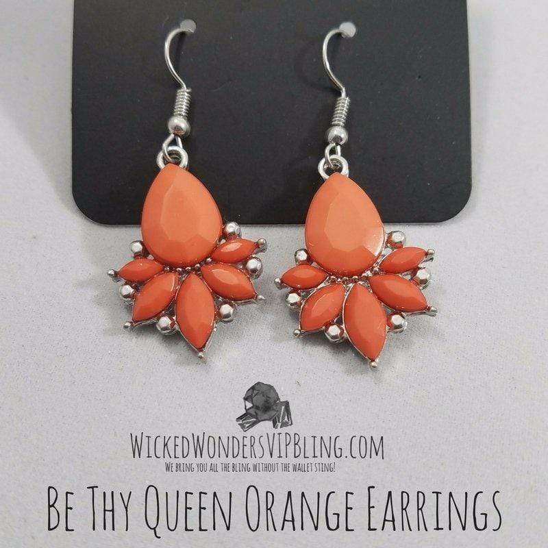 Wicked Wonders VIP Bling Earrings Be Thy Queen Orange Earrings Affordable Bling_Bling Fashion Paparazzi