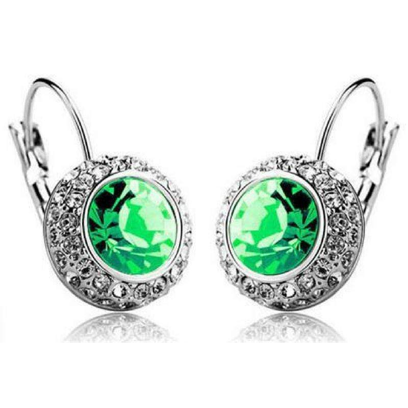 Wicked Wonders VIP Bling Earrings Bejeweled Green Gem and Rhinestone Click Close Huggie Hoop Earrings Affordable Bling_Bling Fashion Paparazzi