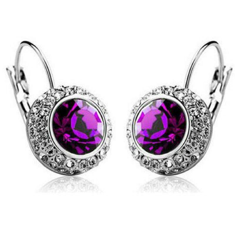 Wicked Wonders VIP Bling Earrings Bejeweled Purple Gem and Rhinestone Click Close Huggie Hoop Earrings Affordable Bling_Bling Fashion Paparazzi