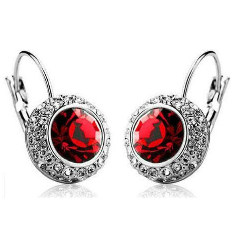 Wicked Wonders VIP Bling Earrings Bejeweled Red Gem and Rhinestone Click Close Huggie Hoop Earrings Affordable Bling_Bling Fashion Paparazzi