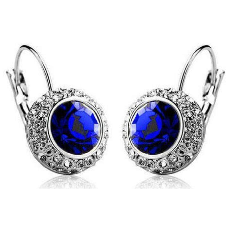 Wicked Wonders VIP Bling Earrings Bejeweled Royal Blue Gem and Rhinestone Click Close Huggie Hoop Earrings Affordable Bling_Bling Fashion Paparazzi