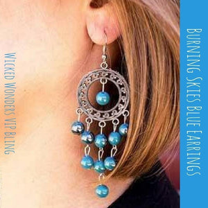 Wicked Wonders VIP Bling Earrings Burning Skies Blue Earrings Affordable Bling_Bling Fashion Paparazzi