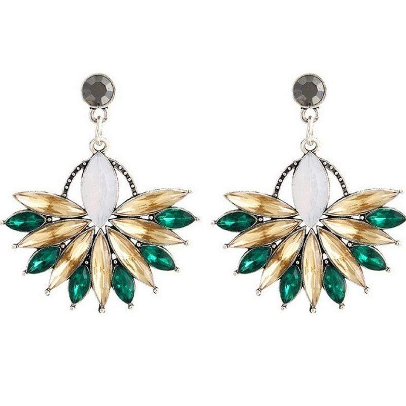 Wicked Wonders VIP Bling Earrings Bursting Flower Green-Amber Gem Earrings Affordable Bling_Bling Fashion Paparazzi