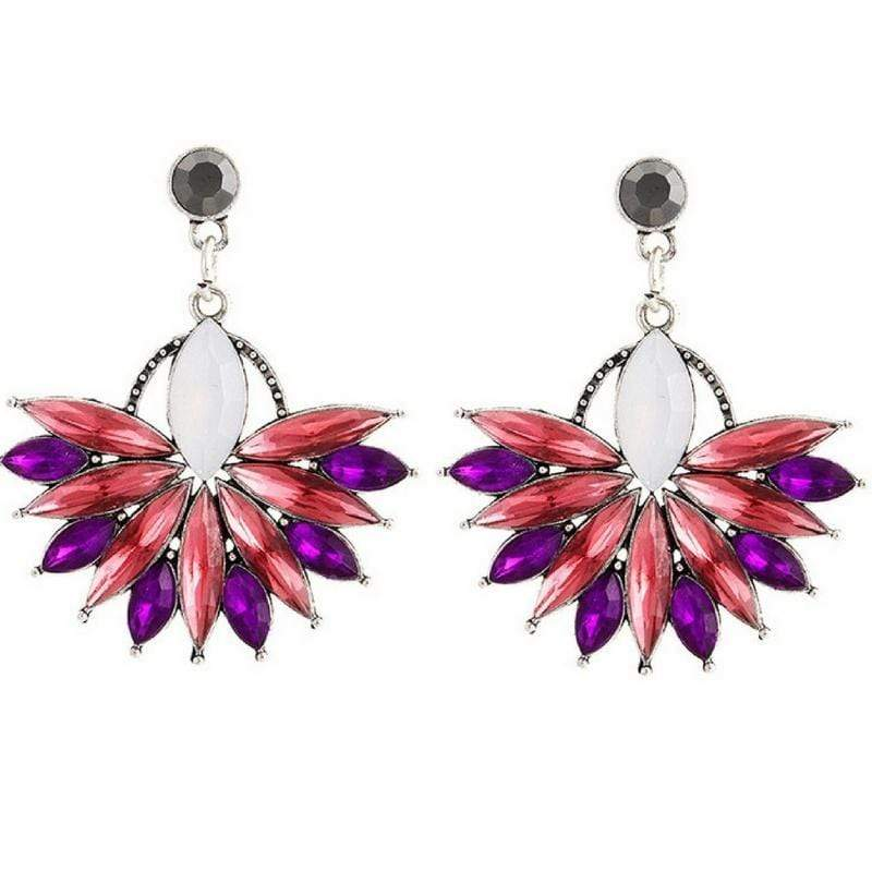 Wicked Wonders VIP Bling Earrings Bursting Flower Pink-Purple Gem Earrings Affordable Bling_Bling Fashion Paparazzi