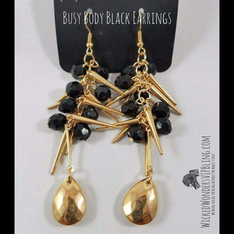 Wicked Wonders VIP Bling Earrings Busy Body Black and Gold Earrings Affordable Bling_Bling Fashion Paparazzi