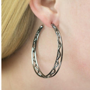 Wicked Wonders VIP Bling Earrings Chasing Daylight Black Hoop Earring Affordable Bling_Bling Fashion Paparazzi