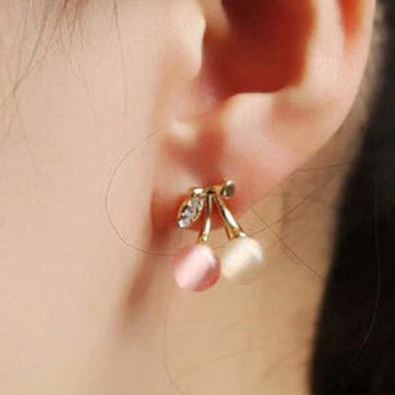 Golden Bejeweled Cherry Post Earrings