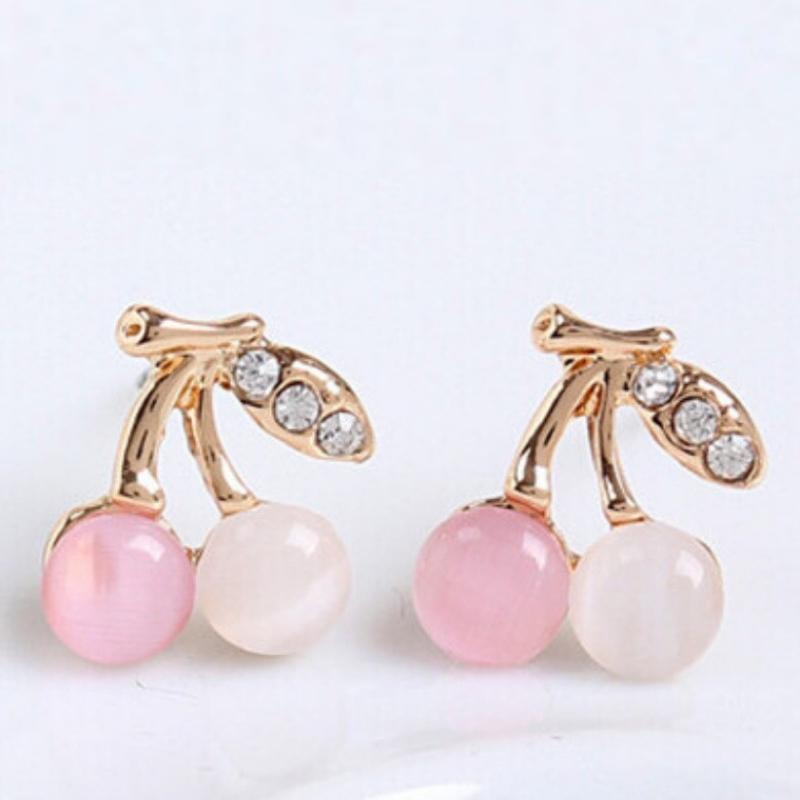 Wicked Wonders VIP Bling Earrings Cherry Pickers Pink Moonstone Gold Post Earrings Affordable Bling_Bling Fashion Paparazzi