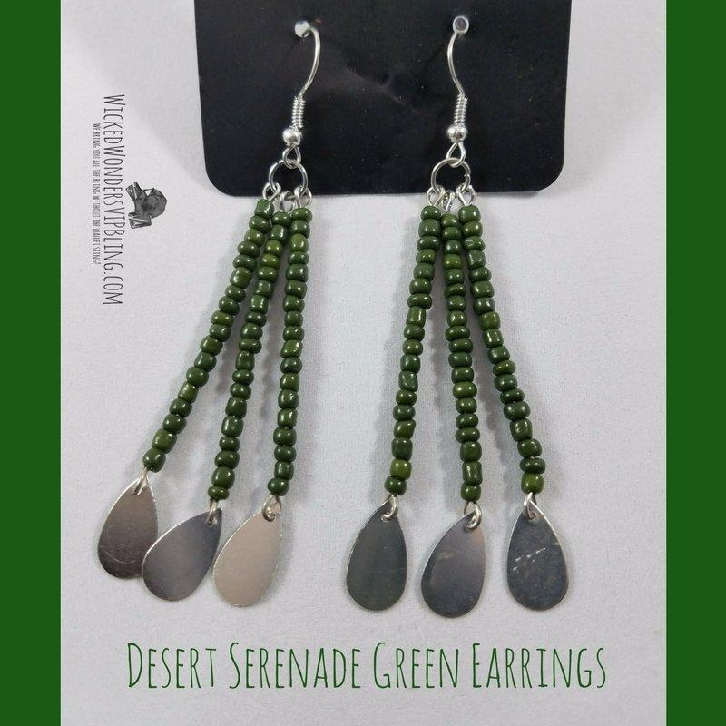 Wicked Wonders VIP Bling Earrings Desert Serenade Green Earrings Affordable Bling_Bling Fashion Paparazzi