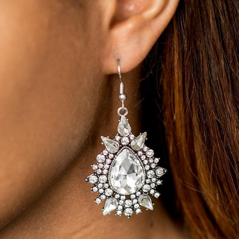 Wicked Wonders VIP Bling Earrings Diva Decor White Gem Statement Earrings Affordable Bling_Bling Fashion Paparazzi