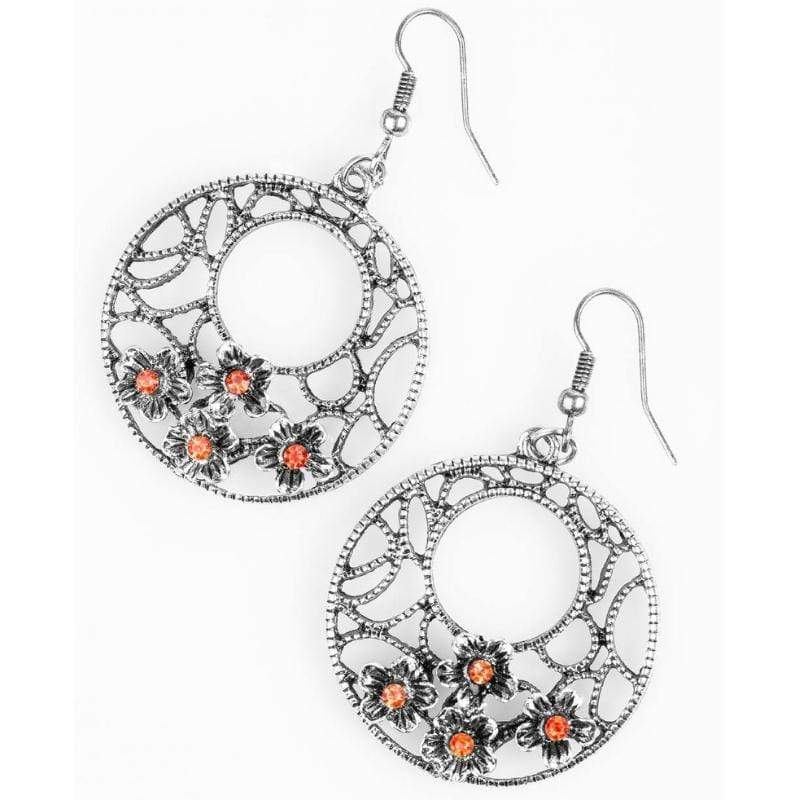 Wicked Wonders VIP Bling Earrings Dixie Chick Orange Rhinestone Earrings Affordable Bling_Bling Fashion Paparazzi