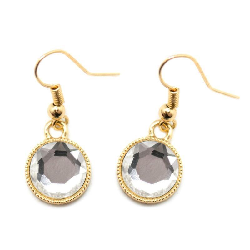 Wicked Wonders VIP Bling Earrings Dreaming of Diamonds Gold and White Gem Earrings Affordable Bling_Bling Fashion Paparazzi