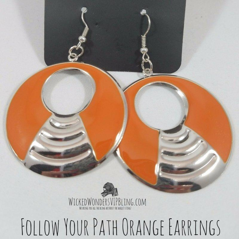 Wicked Wonders VIP Bling Earrings Follow Your Path Orange Earrings Affordable Bling_Bling Fashion Paparazzi