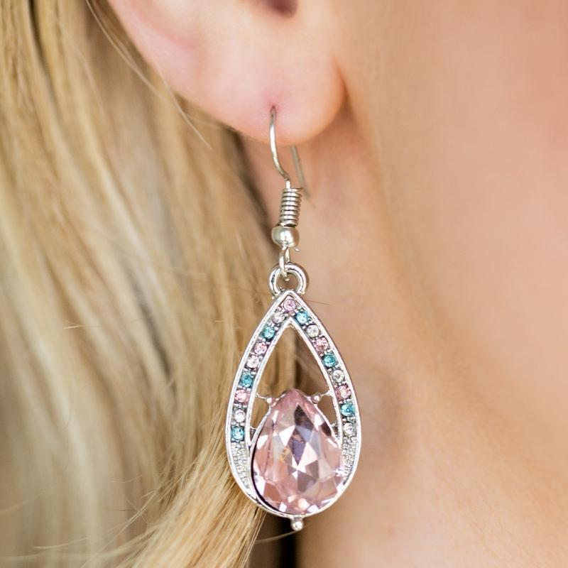 Wicked Wonders VIP Bling Earrings Gatsby Grandeur Pink Multi Gem Earrings Affordable Bling_Bling Fashion Paparazzi