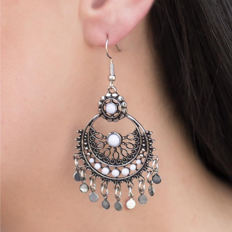 Wicked Wonders VIP Bling Earrings Genie in a Bottle White Earring Affordable Bling_Bling Fashion Paparazzi
