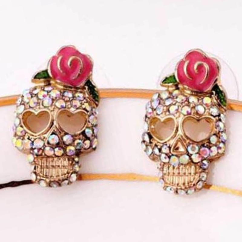 Wicked Wonders VIP Bling Earrings Guns and Roses Skull Multi Crystal Post Earrings Affordable Bling_Bling Fashion Paparazzi