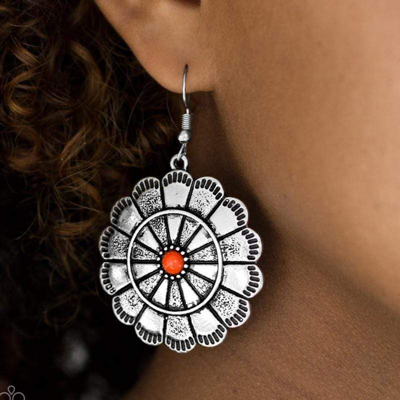 Wicked Wonders VIP Bling Earrings I'm No Wallflower Orange Earrings Affordable Bling_Bling Fashion Paparazzi