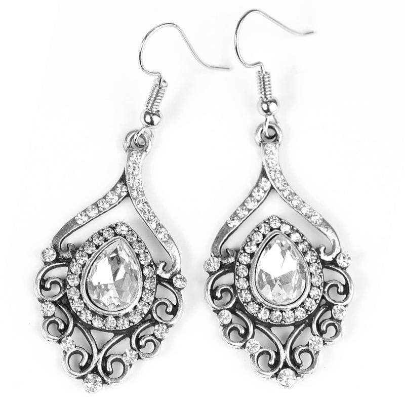 Wicked Wonders VIP Bling Earrings I Think I GLAM White Gem Earrings Affordable Bling_Bling Fashion Paparazzi