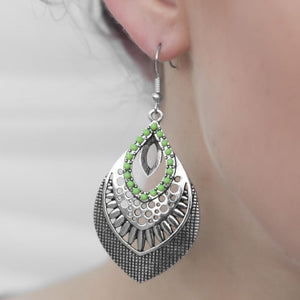 Wicked Wonders VIP Bling Earrings Jungle Tour Green Earrings Affordable Bling_Bling Fashion Paparazzi