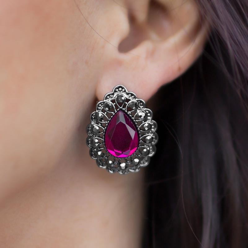 Wicked Wonders VIP Bling Earrings Killin' It Pink Gem Post Earrings Affordable Bling_Bling Fashion Paparazzi