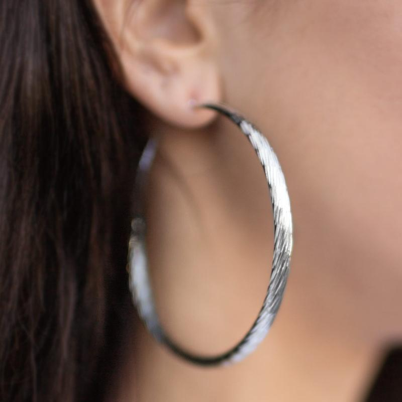 Wicked Wonders VIP Bling Earrings Lightning Fast Silver Hoop Earrings Affordable Bling_Bling Fashion Paparazzi