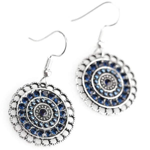 Wicked Wonders VIP Bling Earrings Lights of Paris Blue Rhinestone Earrings Affordable Bling_Bling Fashion Paparazzi