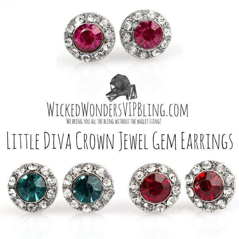 Wicked Wonders VIP Bling Earrings Little Diva Crown Jewel Gem Earrings Affordable Bling_Bling Fashion Paparazzi