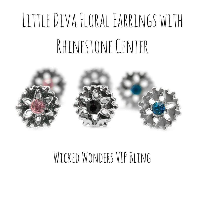 Wicked Wonders VIP Bling Earrings Little Diva Floral Earrings with Rhinestone Center Affordable Bling_Bling Fashion Paparazzi