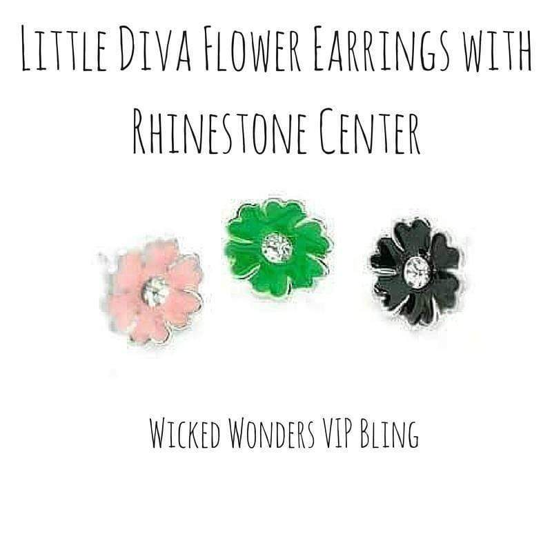 Wicked Wonders VIP Bling Earrings Little Diva  Flower Earrings with Rhinestone Center Affordable Bling_Bling Fashion Paparazzi