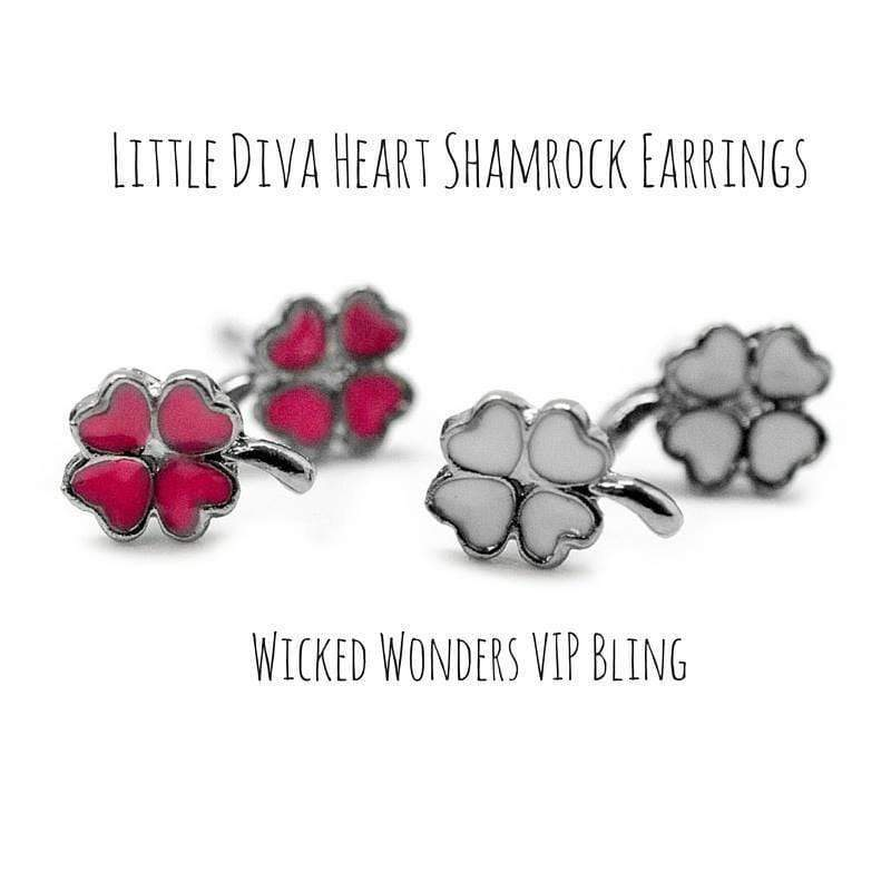 Wicked Wonders VIP Bling Earrings Little Diva Heart Shamrock Earrings Affordable Bling_Bling Fashion Paparazzi