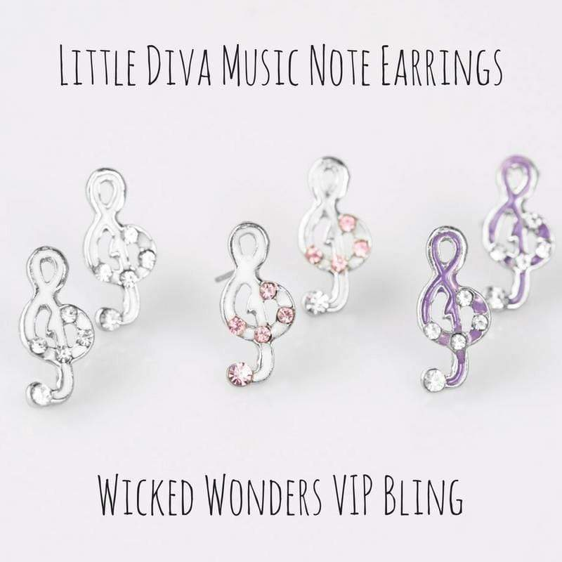 Wicked Wonders VIP Bling Earrings Little Diva Music Note Earrings Affordable Bling_Bling Fashion Paparazzi