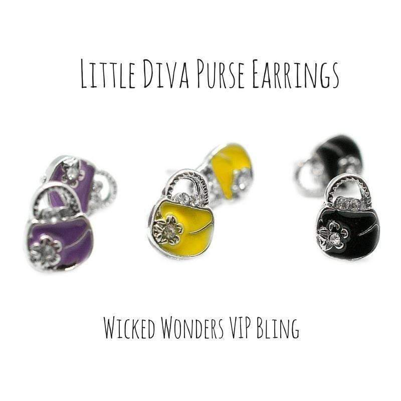 Wicked Wonders VIP Bling Earrings Little Diva Purse Earrings Affordable Bling_Bling Fashion Paparazzi
