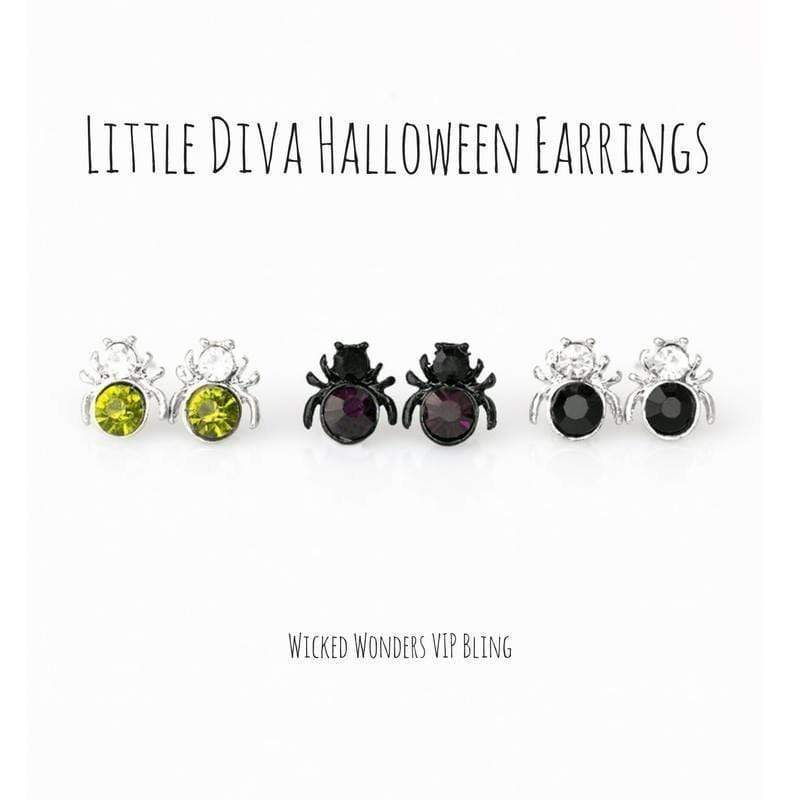 Wicked Wonders VIP Bling Earrings Little Diva Spider Halloween Earrings Affordable Bling_Bling Fashion Paparazzi