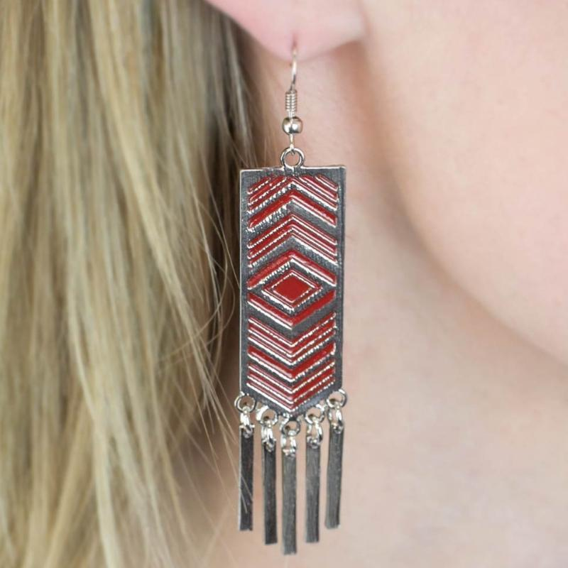 Wicked Wonders VIP Bling Earrings Lone Star Red Earrings Affordable Bling_Bling Fashion Paparazzi