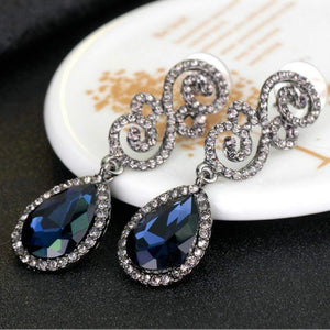 Wicked Wonders VIP Bling Earrings Maximum Vintage Royal Blue Gem Statement Earrings Affordable Bling_Bling Fashion Paparazzi