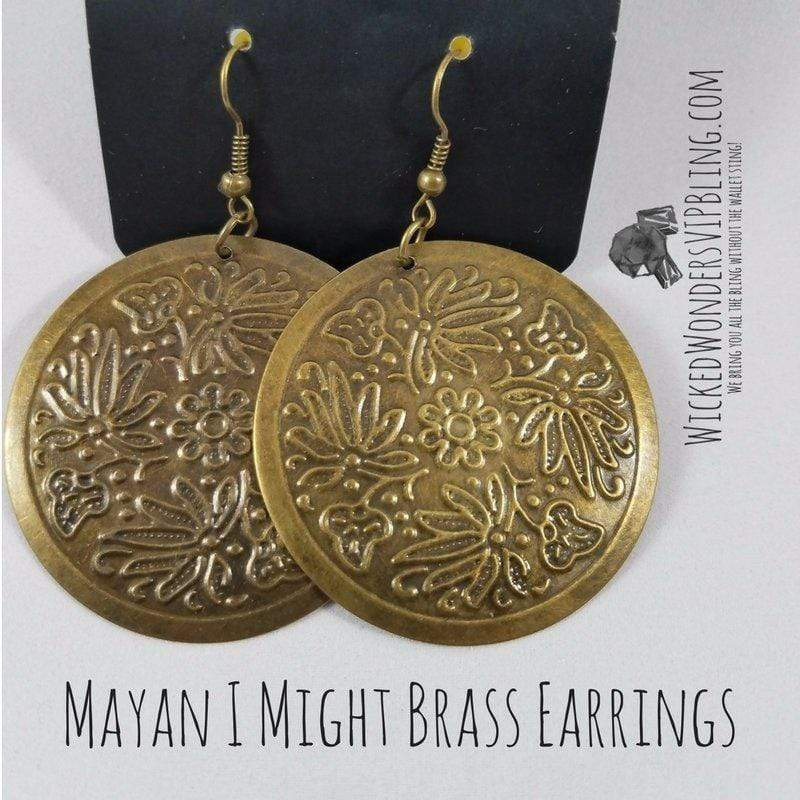 Wicked Wonders VIP Bling Earrings Mayan I Might Brass Earrings Affordable Bling_Bling Fashion Paparazzi