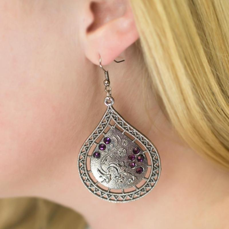 Wicked Wonders VIP Bling Earrings Morning Dew Purple Earrings Affordable Bling_Bling Fashion Paparazzi
