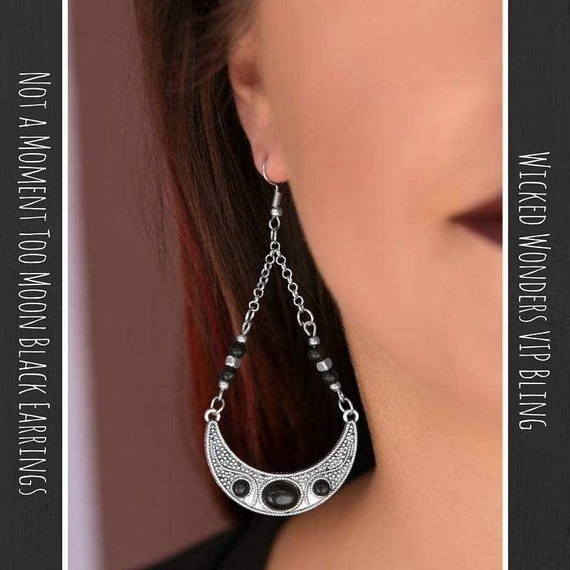 Wicked Wonders VIP Bling Earrings Not a Moment Too Moon Black Earrings Affordable Bling_Bling Fashion Paparazzi