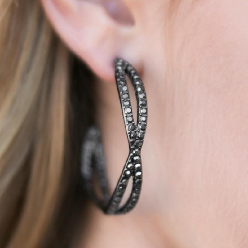 Wicked Wonders VIP Bling Earrings Off the Rails Black Hoop Earring Affordable Bling_Bling Fashion Paparazzi