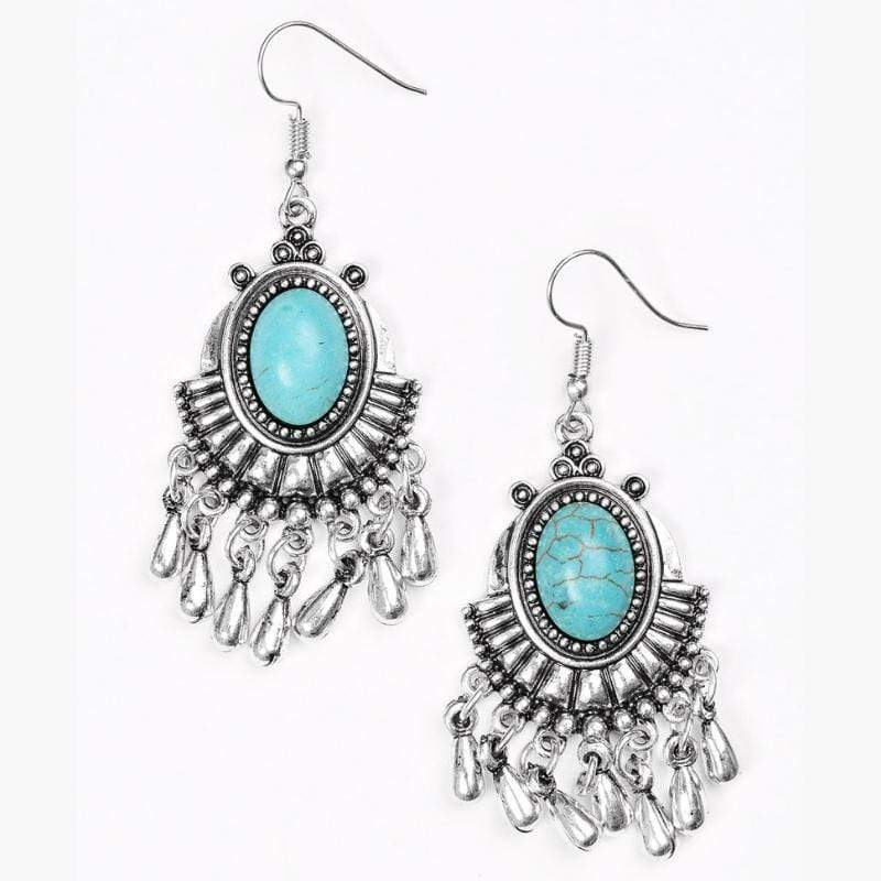 Wicked Wonders VIP Bling Earrings Onward and Westward Blue Stone Earrings Affordable Bling_Bling Fashion Paparazzi