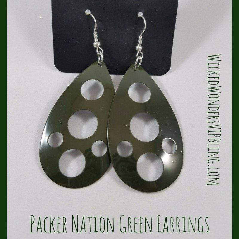 Wicked Wonders VIP Bling Earrings Packer Nation Green Earrings Affordable Bling_Bling Fashion Paparazzi